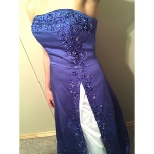 Blue beaded prom dress evening gown strapless